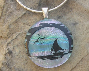 Sailboat Pendant Dichroic Glass Boat Necklace