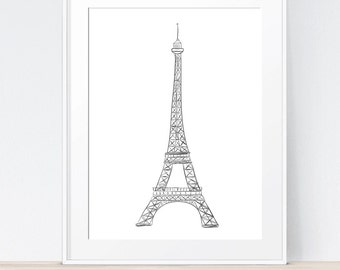 Eiffel Tower Print Wall Art | Minimalist Poster | Printable Art scalable to ALL SIZES