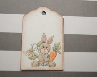 Easter Bunny Rabbit Gift Tags Favor Tags Carrots Flowers set of 10 tags - T580