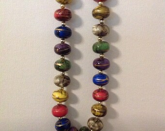Large Colorful Beaded Necklace, Handmade