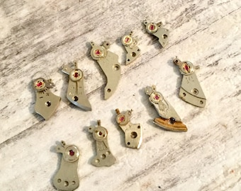 Lot 10 Balance Bridges, Vintage Watch Parts, Steampunk Supplies, Watch Repair, Small Steel Metal Plates, Altered Art, Mixed Media Objects
