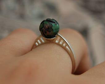 Ebony - Tahitian carved pearl ring, pearl promise, pearl engagement, pearl wedding, Tattoo pearl, ring, statement ring, stacking ring, gift