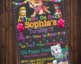 Skye Birthday Party Invitation, Paw Pup Patrol Invitations, Everest, Skye Birthday Party, Birthday Party Invitations, Digital File
