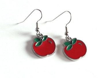 Red Apple Enamel Charm Earrings - Teacher's Pet - Teacher Gift - Back to School - Gifts for her - leverback, 925 sterling silver, clip on