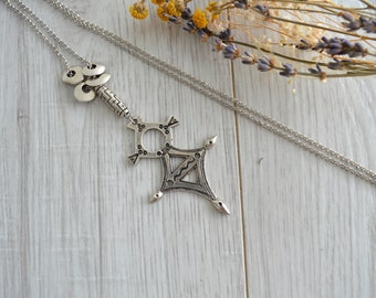 African Ethiopian Tuareg Coptic Cross Necklace Jewelry, African Silver Jewelry, Ethnic Tribal Necklace Jewelry, Large Amulet Necklace