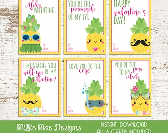 INSTANT DOWNLOAD - Pineapple Valentine's Day Cards - Pina - Mustache