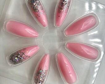 Glittery Pink False Fake Nails Falsies / 24 Nails