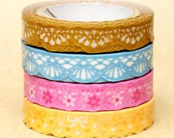 NamiNami Washi Masking Tape - Lace in Gold, Emerald, Pink & Yellow - Slim