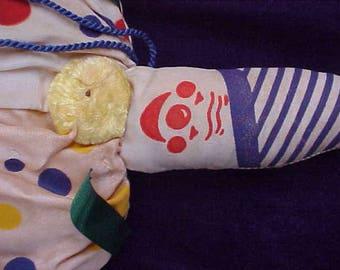 "Vintage 1940's Creepy Clown 10"" Cloth Floral Sachet with Hang Tag"
