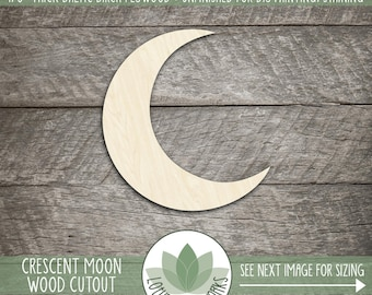 Crescent Moon Wood Cutout, Wooden Moon Shape, Moon Nursery Wall Decor, Laser Cut Shapes For DIY Projects, Many Shapes And Sizes
