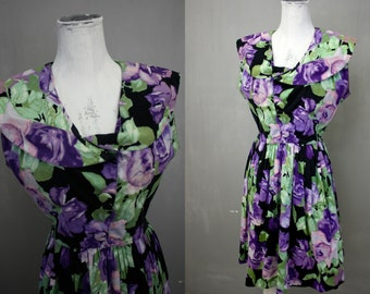 Purple Roses | United Colors of Benetton | Retro 1950s Style Black Floral Chinz Cotton Day Dress | Vintage 1980s | LG Waist 29