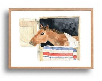 Horse art print, Horse in his stall print, horse watercolor print, nursery art, ranch, Equestrian, kids room, country life, farm animal art