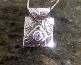 Fine Silver Pendant with Cubic Zirconia Stone