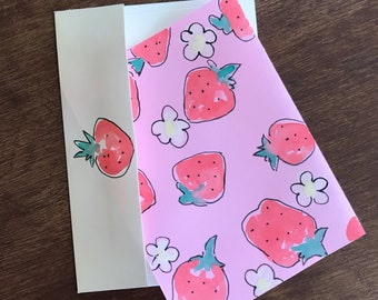 Strawberry watercolor card