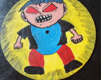 """Angry Boy 7"""" record painting. Original Outsider low brow artwork."""