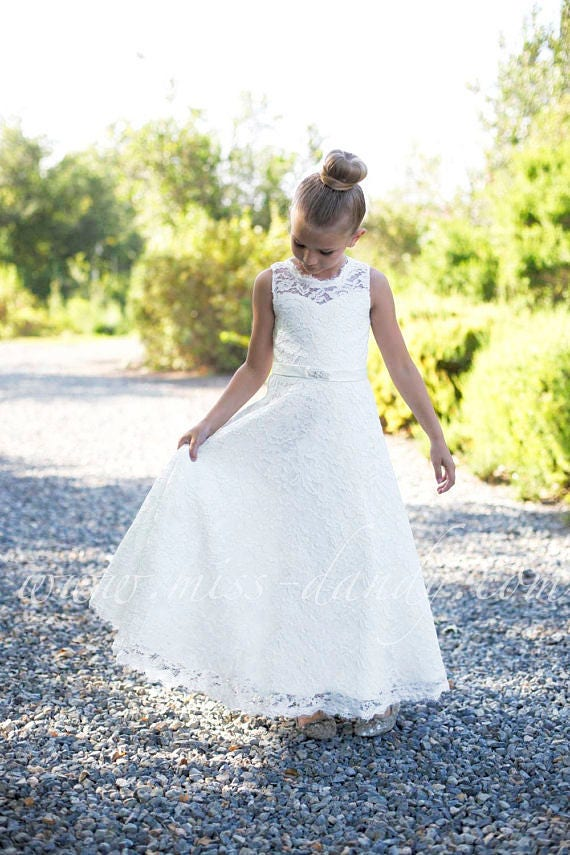 Lace flower girl dress, flower girl dresses, Lace girl dress, off white lace dress, ivory flower girl dress white lace,First Communion Dress