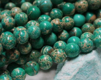 green impression jasper, 10mm beads, gemstone rounds, boho beads, earthy beads, natural beads, beads for males,