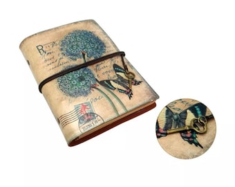 Classic Retro Leather Journal Traveler's Notepad Butterfly Notebook