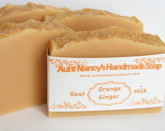 Orange Ginger Handmade Soap with Goat Milk - Scented With Essential Oils - Homemade Soap From Scratch - Clean, Invigorating Scent