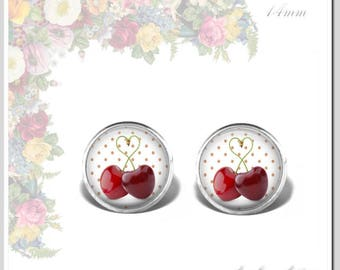 Stud Earrings Glass Cabochon 14 mm sweet churches Sweet cherries Osh-014-043
