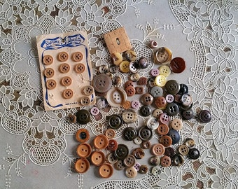 Vintage Brown and Tan Button Assortment Wood Leather
