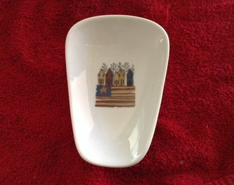 "Ceramic Spoon Rest with  Americia Row of Houses  5"" Long And 3 1/2 inches at Top of Spoon"