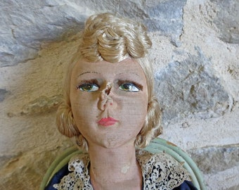 Antique French Boudoir Doll, 29 inch doll with hand painted face and porcelain limbs in original dress