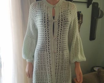Light Green lacy crocheted sweater