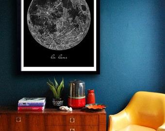 La Lune print Poster PRINTABLE FILE  - La Lune, la luna poster, la lune moon, printable art, digital print, digital art, dorm wall art