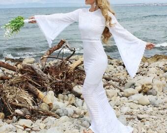 Vintage Boho Gypsy Lace Wedding Dress