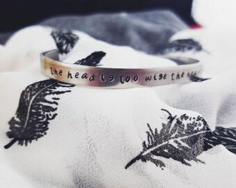 Custom Phrase Metal Stamped Silver Bracelet