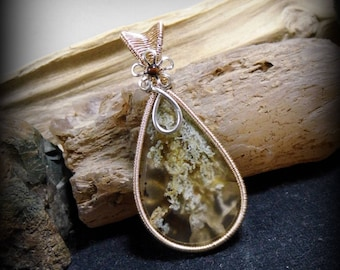 Unique OOAK Montana Agate Wire Wrapped Stone Silver & Gold Pendant