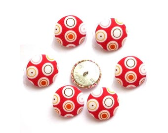 Red buttons spotted fancy x 6 size optional