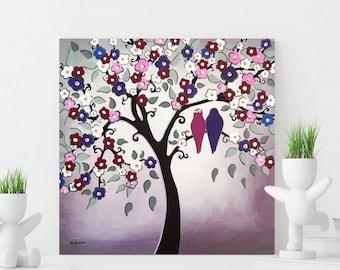 Love Birds in Tree Bedroom Decor Wall Art, Wedding Art Gift, Couples Gift Purple Wall Decor