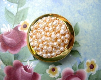 Vintage jewel button gold color plastic with white pearls 32m