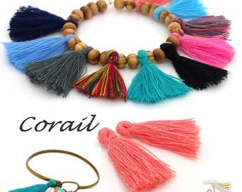 10 tassels coral / salmon cotton (div63) 28mm for jewelry boho Gypsy