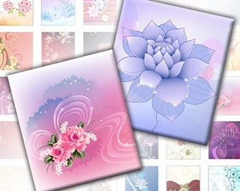 Flowers and swirls colorful digital collage sheet pedant size scrabble tile 0.75 x 0.83 inches(060) Buy 3 - get 1 free