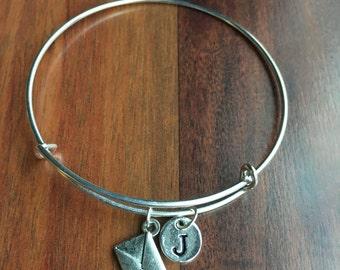 Envelope Initial bracelet, Envelope charm, Love letter envelope, Gift for Lovers, Letter bracelet, antique silver, hand stamped bracelet