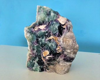 Large Rainbow Fluorite Crystal / RAW Green Fluorite Healing Stone w/ Reiki / Home Decor / Boho Chic
