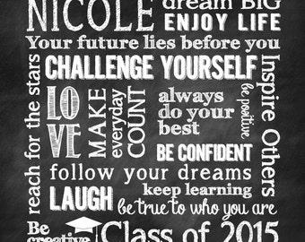Personalized Graduation Gift/Chalkboard Design/SubwayArt/Square Print - 8x8, 10x10, 12x12