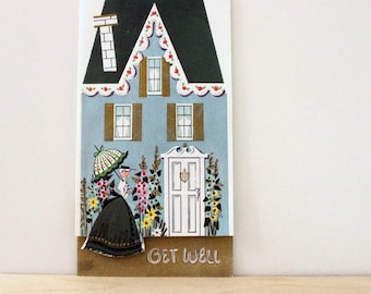 Get Well. Vintage 1960s greeting card.