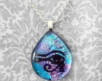 Purple and Blue Eye of Horus Teardrop Fused Dichroic Glass Pentacle Pendant