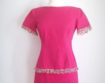 Vintage Pink Skirt & Shirt Set // 1980s