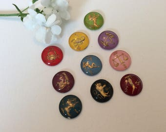 Vintage Intaglio round cab 15mm in diameter 4mm depth Signs of the zodiac C'1950's Pack of 3 different