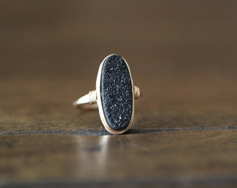 Druzy Oval Gold Ring , Black Statement Gemstone Ring , Gold , Sterling Silver , Rose Gold , Gift Ideas - Eclipse