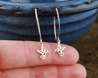 Tiny hummingbird charms and long earrings in sterling silver, sterling silver bird, bird earrings, tiny charms