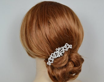 Vintage Style Silver Plated Bridal Rhinestone Hair Comb Wedding Headpiece Jewelry - Ready to Ship in 1-3 Business Days