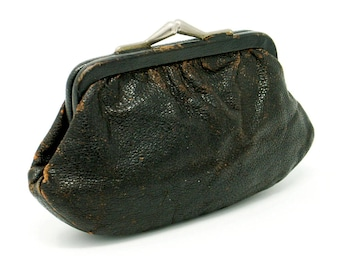 Old Black Leather Coin Purse