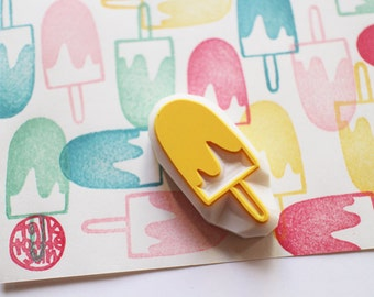 ice cream rubber stamp | ice candy stamp | popsicle | diy summer birthday card making | party gift wrapping | hand carved by talktothesun