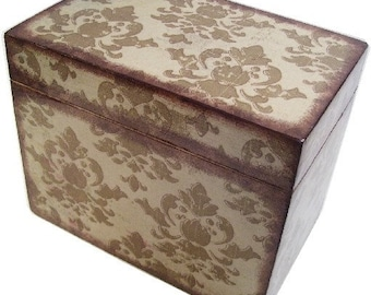 Recipe Box Decoupaged  Large Handcrafted  Olive Green Damask, Holds 4x6 Recipe Cards Kitchen Storage Organization MADE TO ORDER